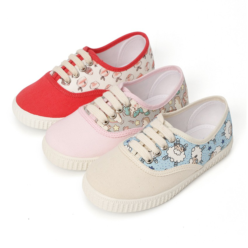 Lace-up canvas trainers animal prints