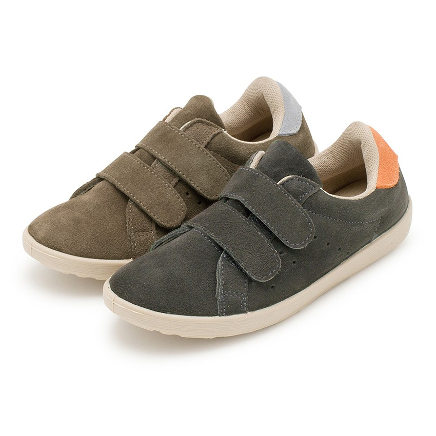 Suede sneakers with loop fasteners for kids