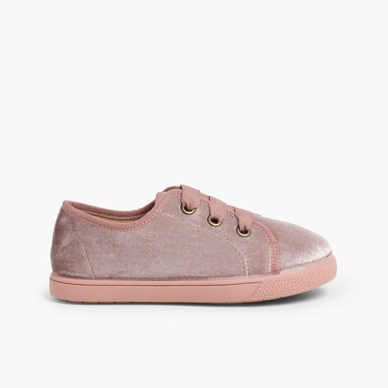 Sneakers girls velvet shiny