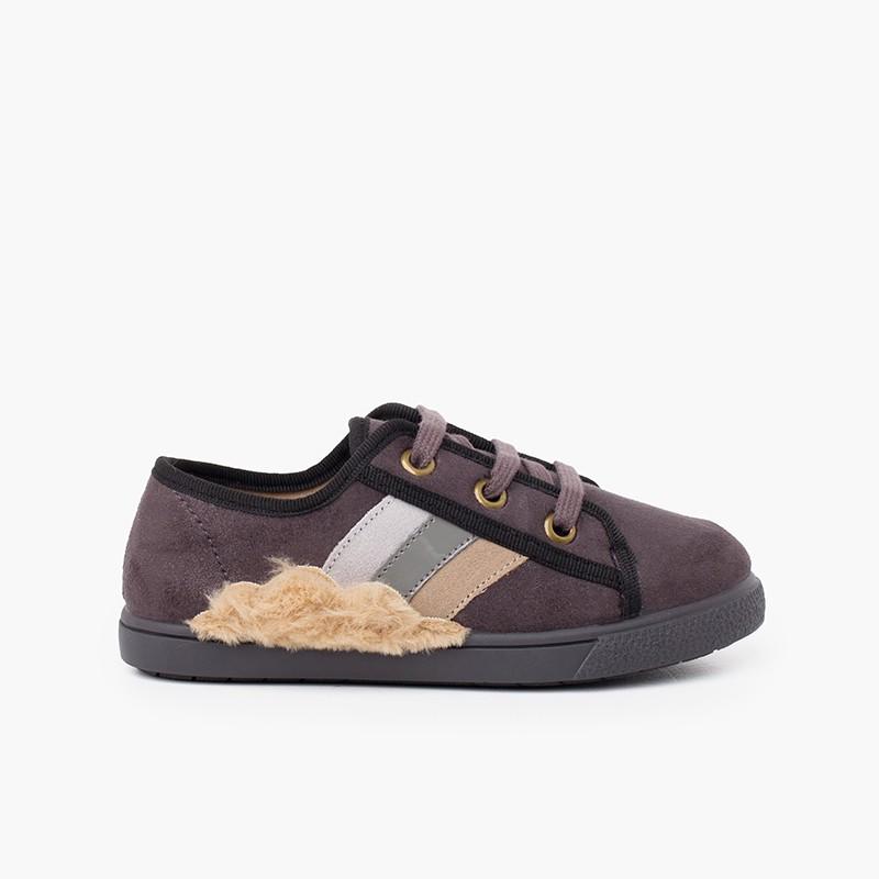 Soft furry cloud tennis shoes