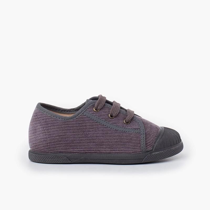 Corduroy rubber toe cap sneakers