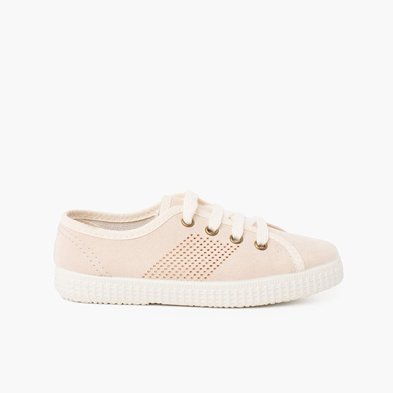 Suede Type Trainers Side Perforation and Antibacterial Insole