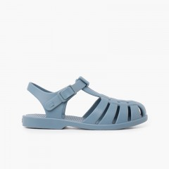 Children's sandals with buckle clasp in dusty colors Green