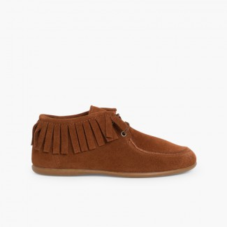 Fringed Ankle Boots for Kids and Women  Taupe
