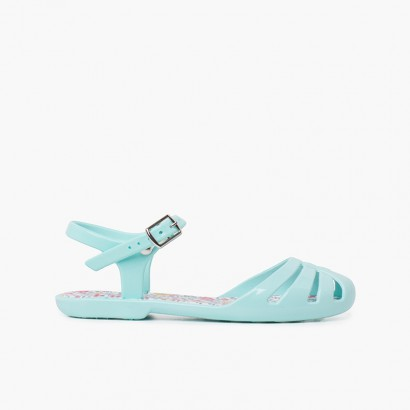 Sandals girl buckle plant flowers Pink