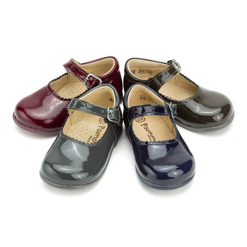 Girls Patent Buckle Up Mary Jane Shoes Spanish Quality