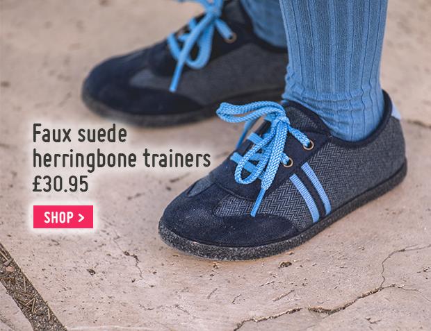 Faux suede herringbone trainers