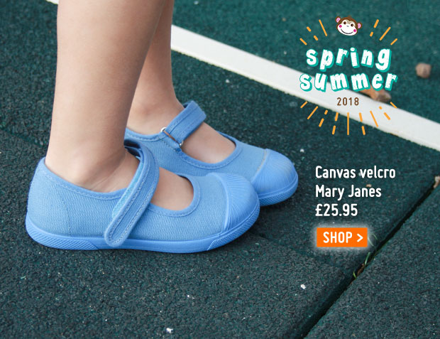 Canvas velcro mary janes rubber toes